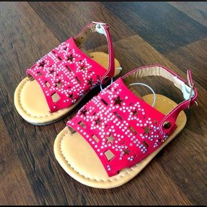 NWT Ositos Baby Girls sz 1 red sandals stars shoes